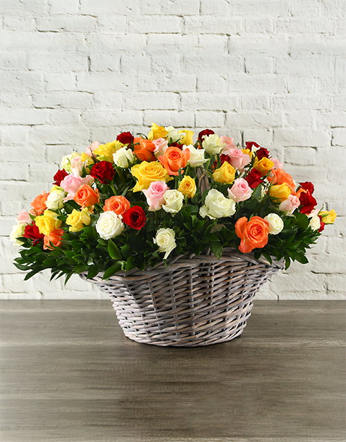 roses: 100 Mixed Roses In a Basket!