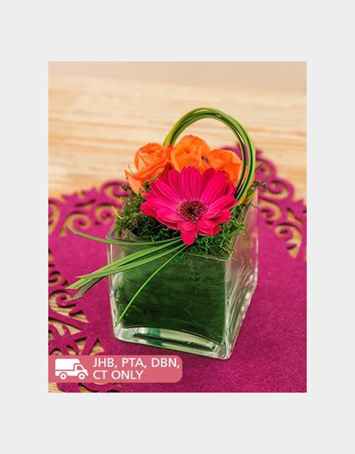 gerbera-daisies: Gerbera and Roses Petite Arrangement!