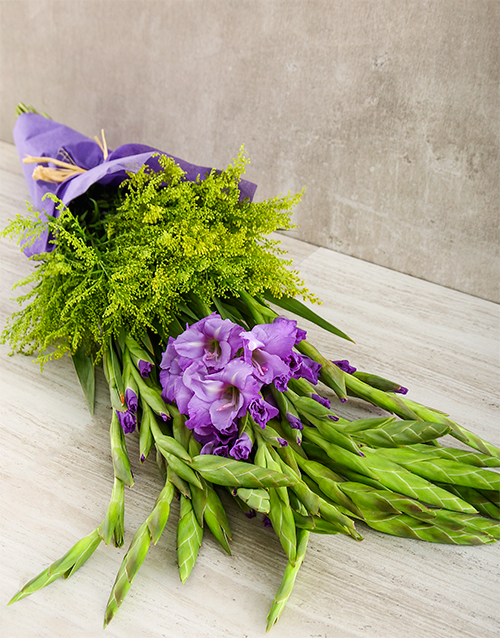 whats-new: Purple Gladiolus and Goldenrod Bouquet!