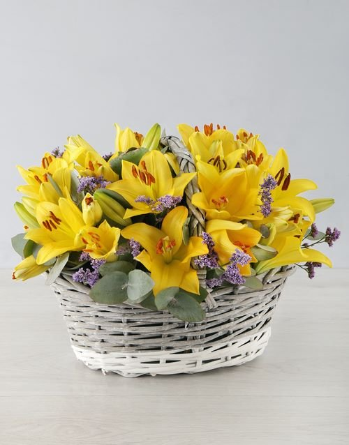 lilies: Yellow Asiflorum Lilies in Willow Basket!