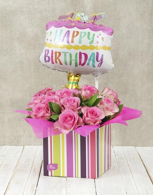 Buy Happy Birthday Pink Rose And Cake Balloon Box online NETFLORIST