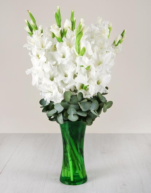 coloured-vases: White Gladiolus in Green Flair Vase!