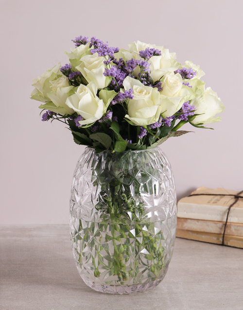 colour: White Rose in a Crystal Cylinder!