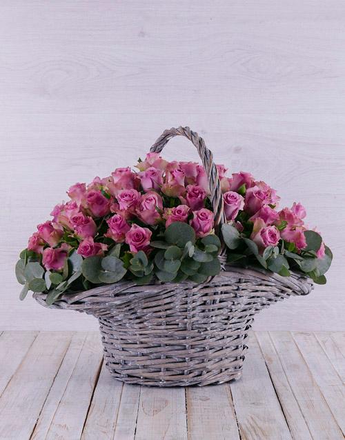 luxury: Purple Rose in Willow Basket!