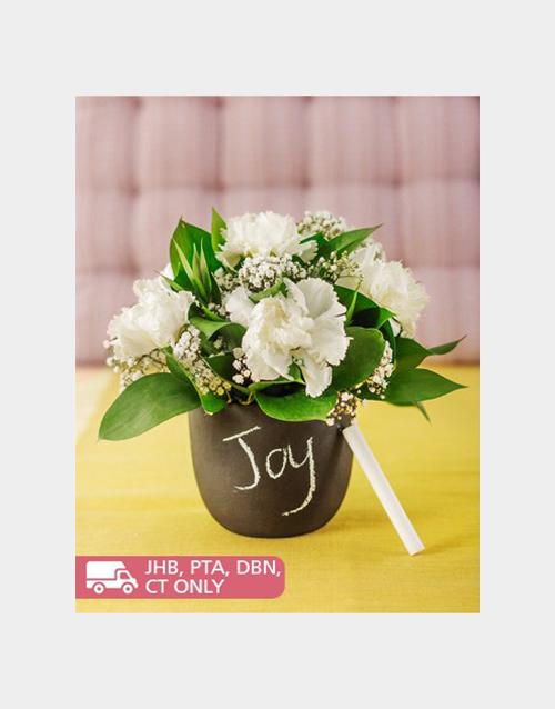 carnation: White Carnations in a Chalkboard Vase!