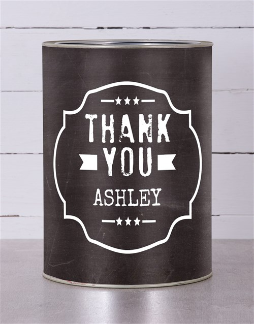 personalised: Personalised Thank You Black Tin!