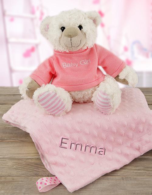 baby: Personalised Pink Blanky & Bear!