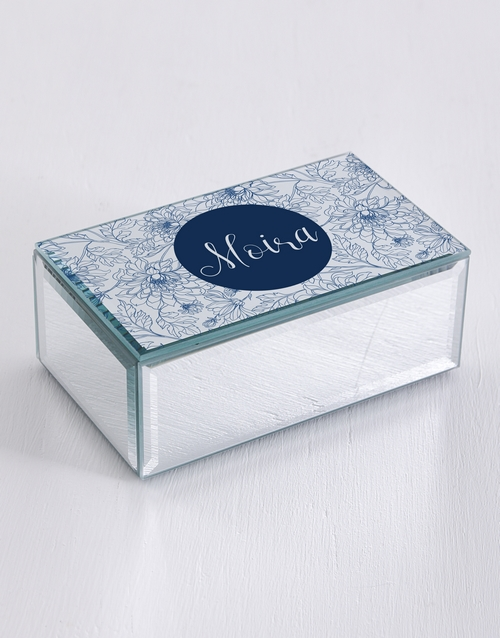 mothers-day: Personalised Blue Floral Mirror Trinket Box!