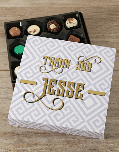 personalised: Personalised Golden Thank You Choc Tray!