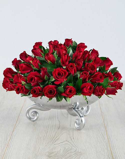 valentines-day: Red Roses in a Silver Bowl!