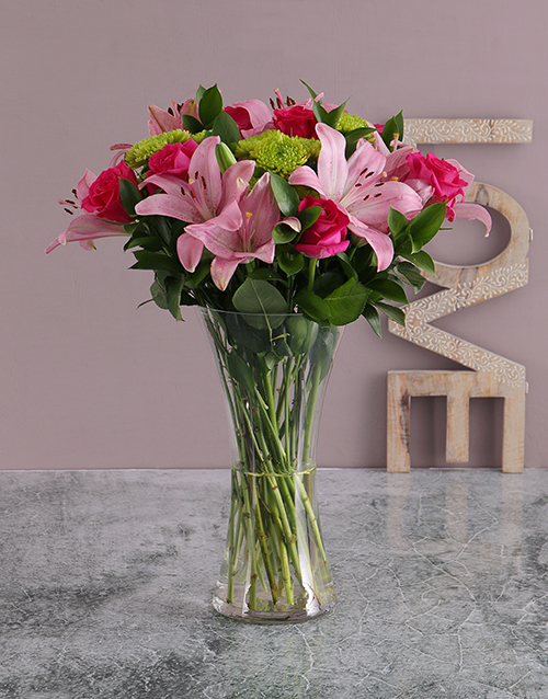 Flowers: Pink Lilies and Cerise Roses in a Vase!