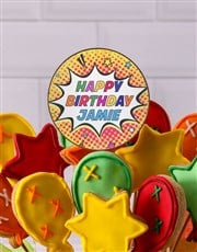 Personalised Birthday Balloon With Cookie Bouquet