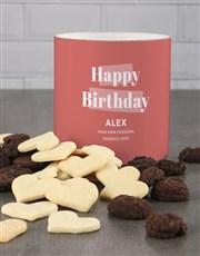Personalised Coral Birthday Cookie Tube