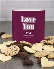 Personalised Purple Love You Cookie Tube