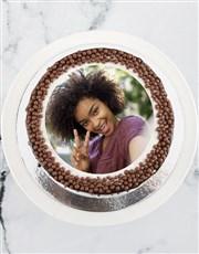 Personalised Vanilla Family Photo Drip Cake
