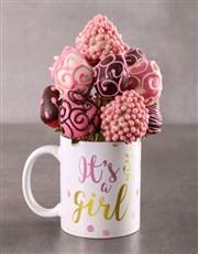 Baby Girl Dipped Strawberries in a Mug