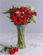 A beautiful display of vivid red flowers like gerb