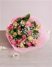 A lovely presentation of mixed roses in pastel sha