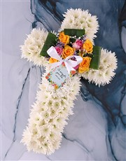 A floral sympathy tribute that can be displayed on