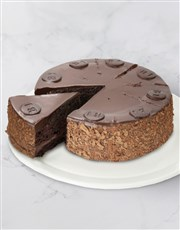 A rich, dark and moist chocolate cake, coated in o
