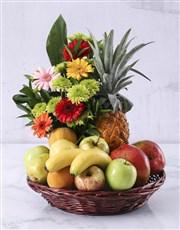 Flower and Fresh Fruit Basket