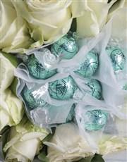 White Rosy Chocolate Arrangement