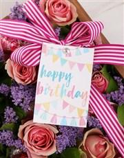 Pink Happy Birthday Rose Arrangement