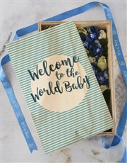 Personalised Welcome Baby Boy Crate