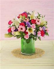 Mixed Pink and Mauve Flower Arrangement