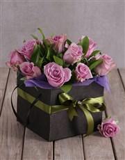 Light Purple Roses in Black Box