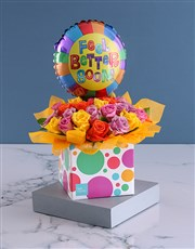 Box Of Blooms Balloon And Well Wishes