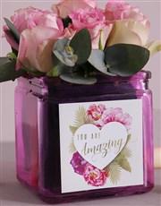 Pink Love Roses in Square Vase