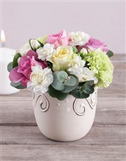 Roses and Carnations in Ceramic Pot