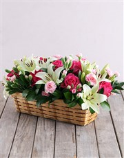 Mixed Flowers in Rectangle Basket