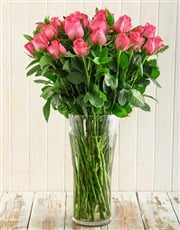 A floral display of cerise roses in a glass vase,