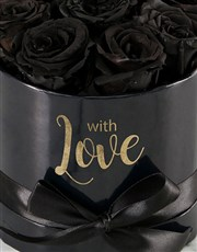 Preserved Black Roses In Black Box