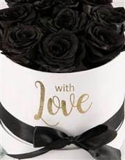 Preserved Black Roses In White Box