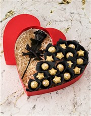 Box Of Hearts With Preserved Rose