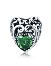 Green Filigree Heart Charm