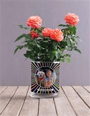 Personalised Orange Rose Photo Vase