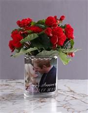 Personalised Begonia Anniversary Photo Vase
