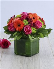 Mixed Floral in Square Green Vase