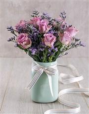 Lilac Roses in Mint Ceramic Vase