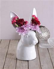 Mixed Flowers in Rabbit Vase