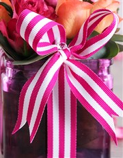 Cerise Rose and Ribbon in a Square Vase