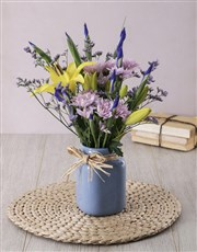 Iris and Lily in Blue Consol Jar