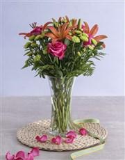 Royal Sunset Lily and Cerise Rose Arrangement