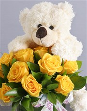 Yellow Roses and White Teddy