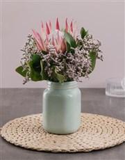 King Protea in Mint Jar