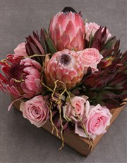 Mixed Proteas and Roses in Crate